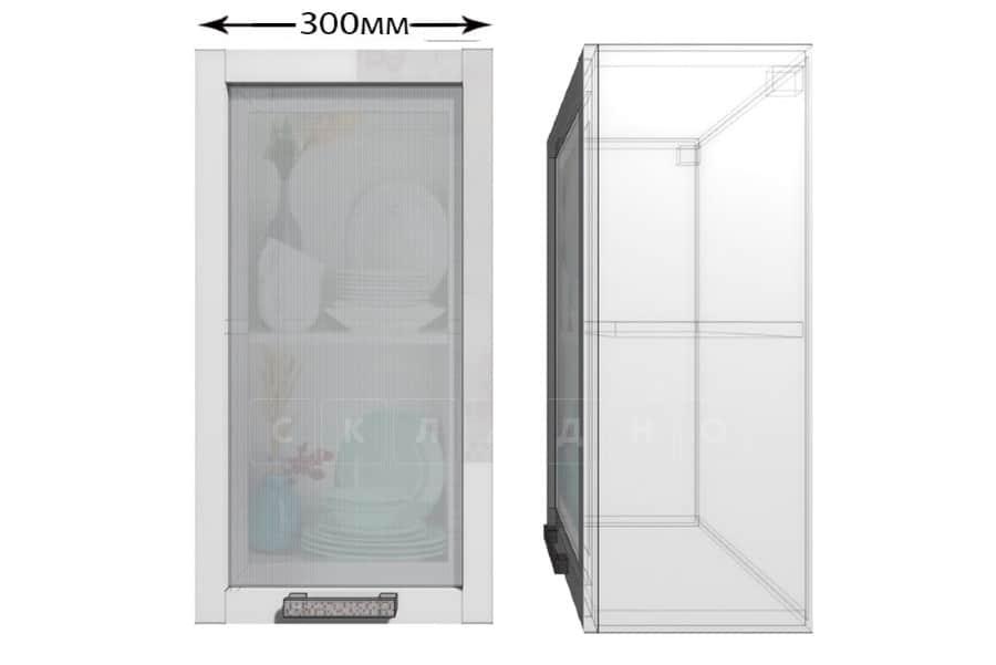 Кухонный навесной шкаф со стеклом Гинза ШВС30 фото 1 | интернет-магазин Складно