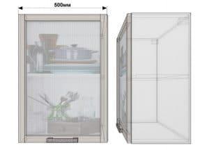 Кухонный навесной шкаф со стеклом Гинза ШВС50 фото | интернет-магазин Складно