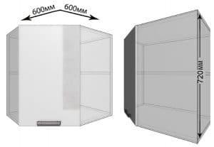 Кухонный навесной шкаф угловой Гинза ШВУ60  2780  рублей, фото 1 | интернет-магазин Складно