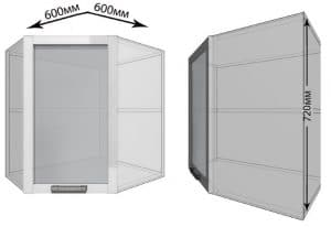 Кухонный навесной шкаф угловой со стеклом Гинза ШВУС60 фото | интернет-магазин Складно