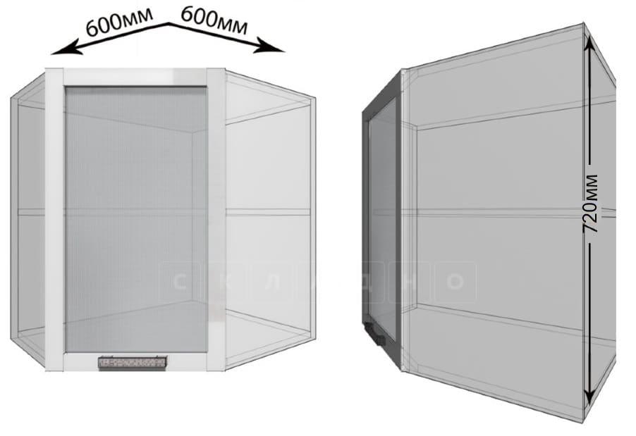 Кухонный навесной шкаф угловой со стеклом Гинза ШВУС60 фото 1   интернет-магазин Складно