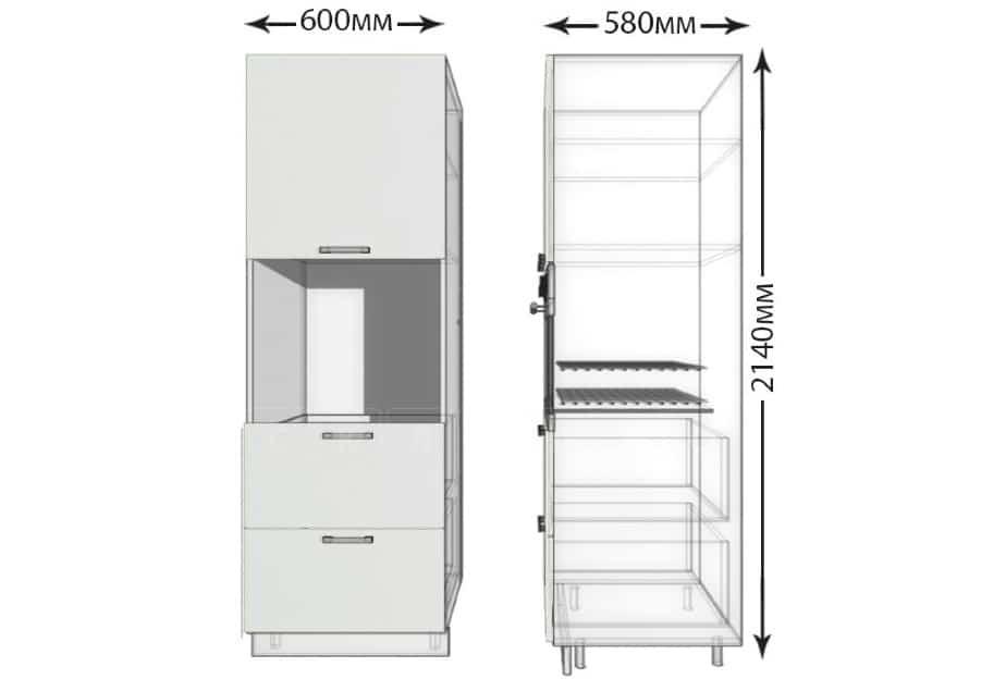 Кухонный напольный шкаф-пенал Гинза ШП2Я60 с 2 ящиками фото 1 | интернет-магазин Складно