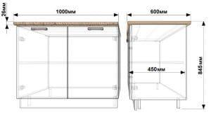 Кухонный шкаф напольный Гинза ШН100 4420 рублей, фото 1 | интернет-магазин Складно