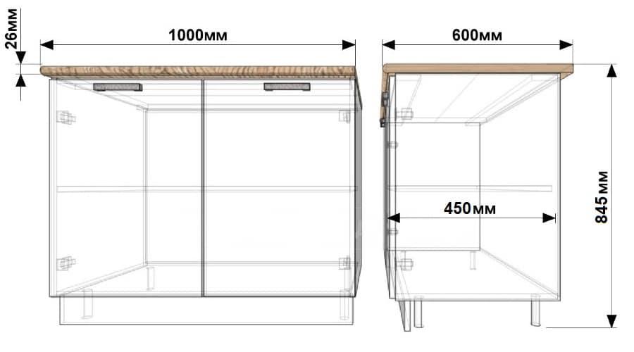Кухонный шкаф напольный Гинза ШН100 фото 1 | интернет-магазин Складно