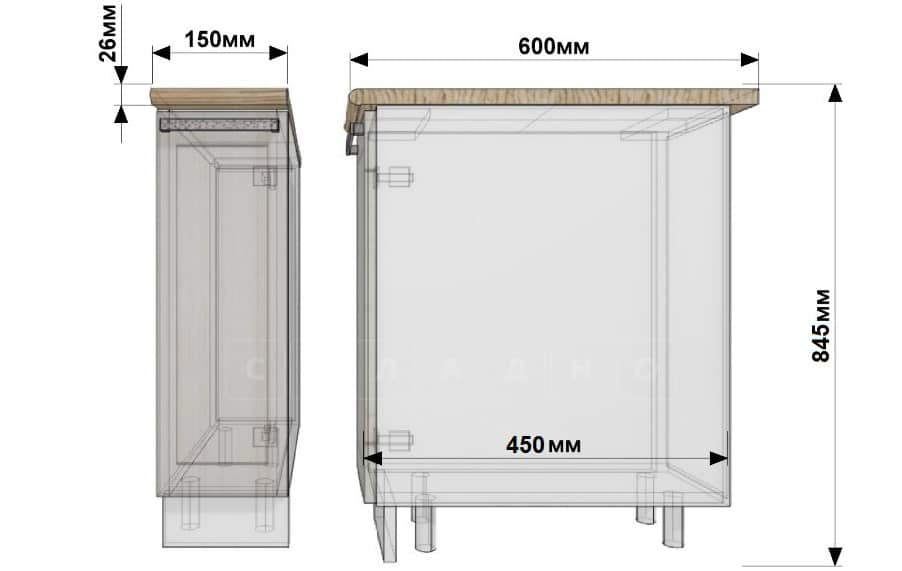 Кухонный шкаф напольный бутылочница Гинза ШН15 фото 1 | интернет-магазин Складно