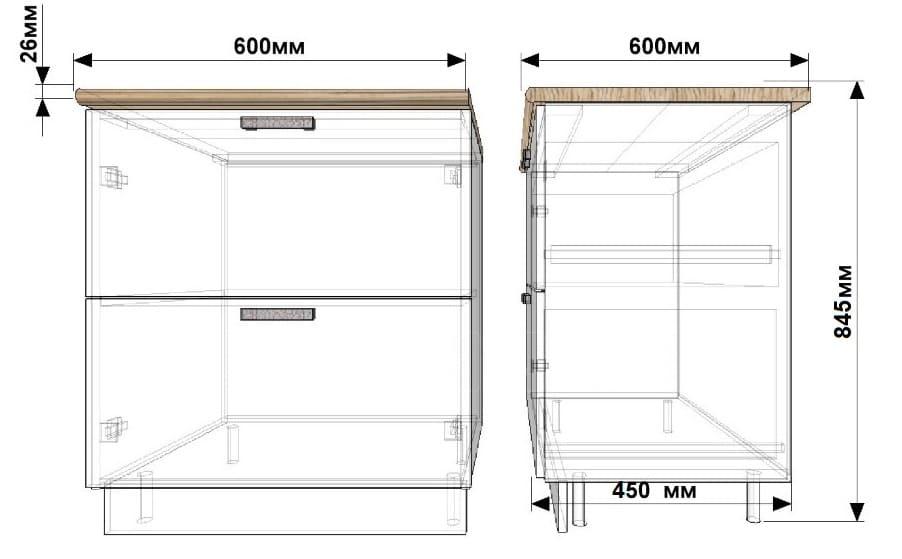 Кухонный шкаф напольный Гинза ШН2Я60 с 2 ящиками фото 1 | интернет-магазин Складно