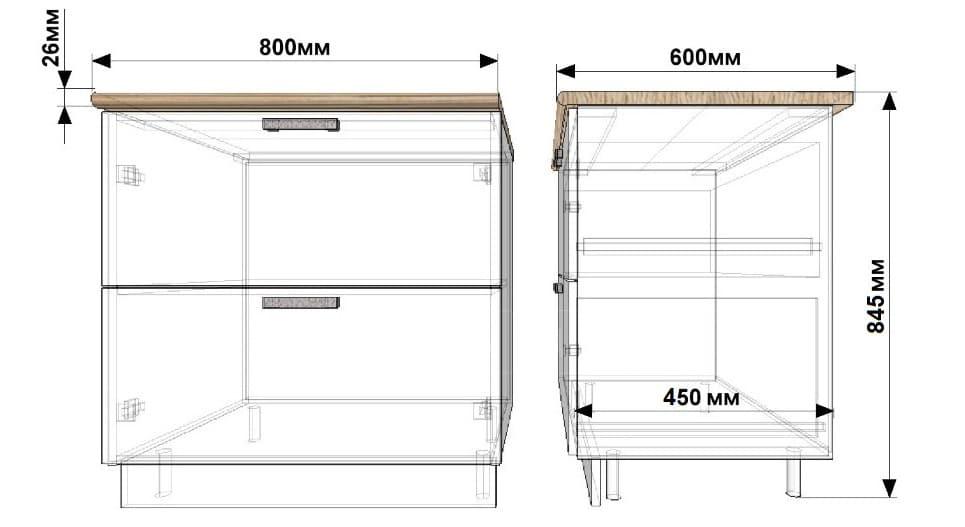 Кухонный шкаф напольный Гинза ШН2Я80 с 2 ящиками фото 1 | интернет-магазин Складно