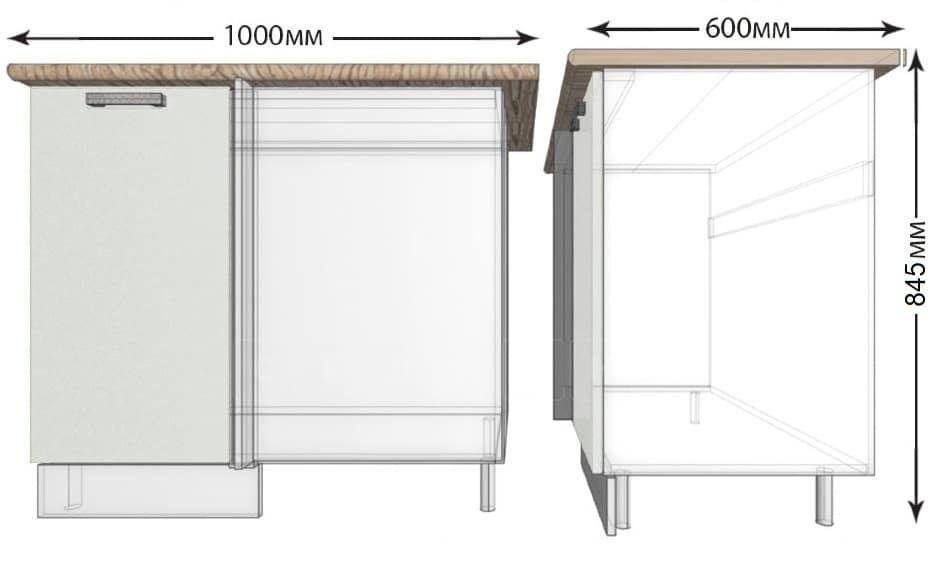 Кухонный шкаф напольный угловой Гинза ШНУ100 фото 1 | интернет-магазин Складно