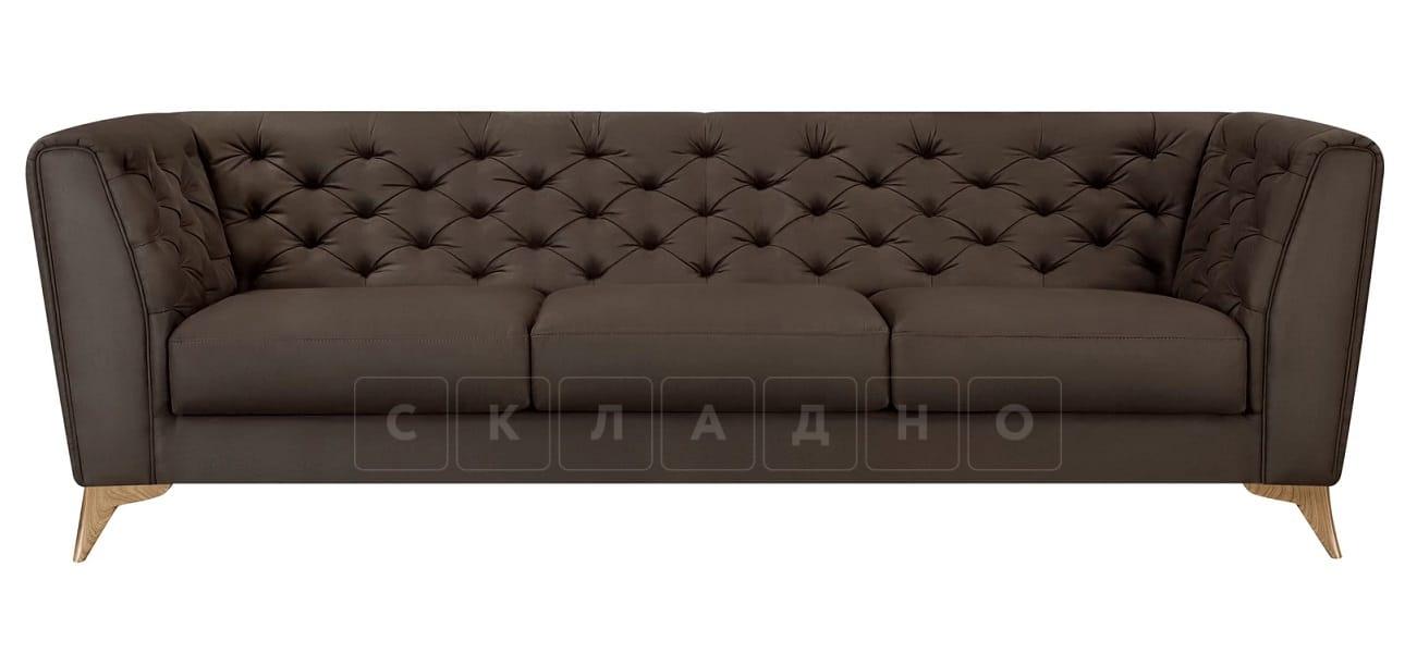 Диван прямой трехместный Честер на ножках коричневый фото 2 | интернет-магазин Складно