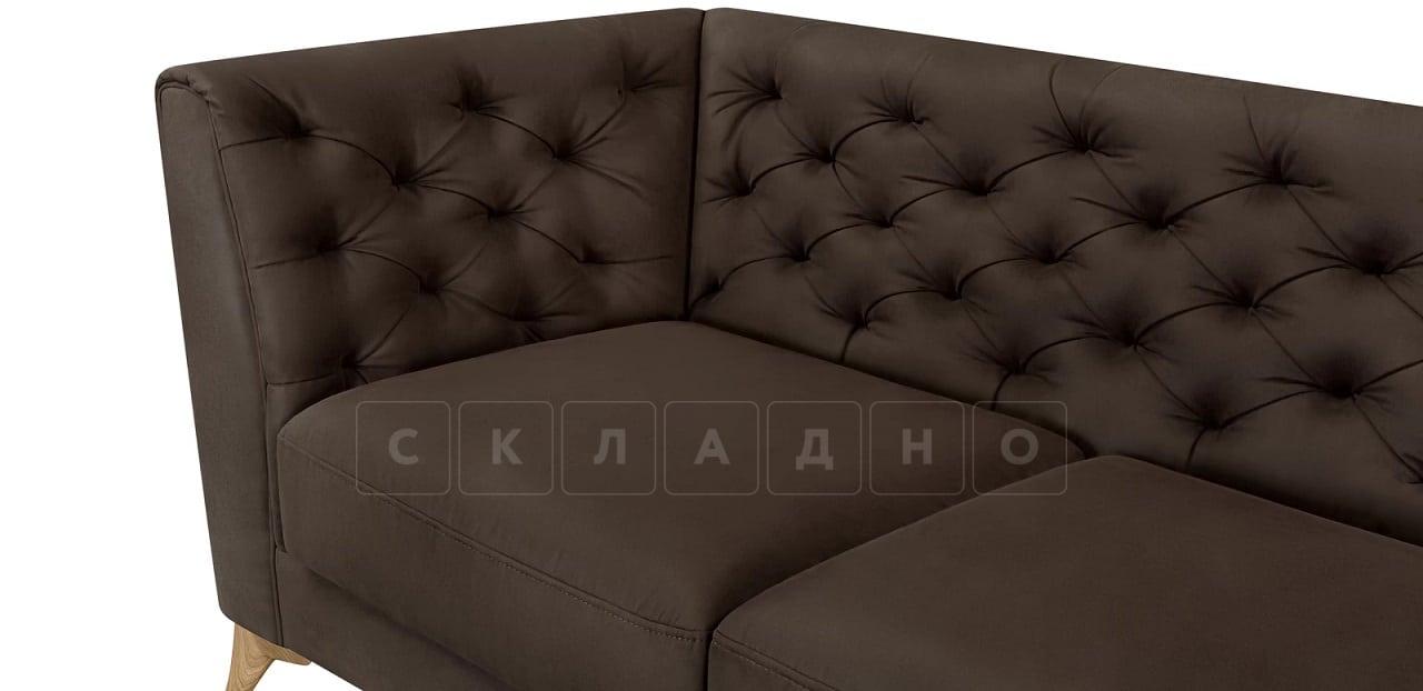 Диван прямой трехместный Честер на ножках коричневый фото 7 | интернет-магазин Складно