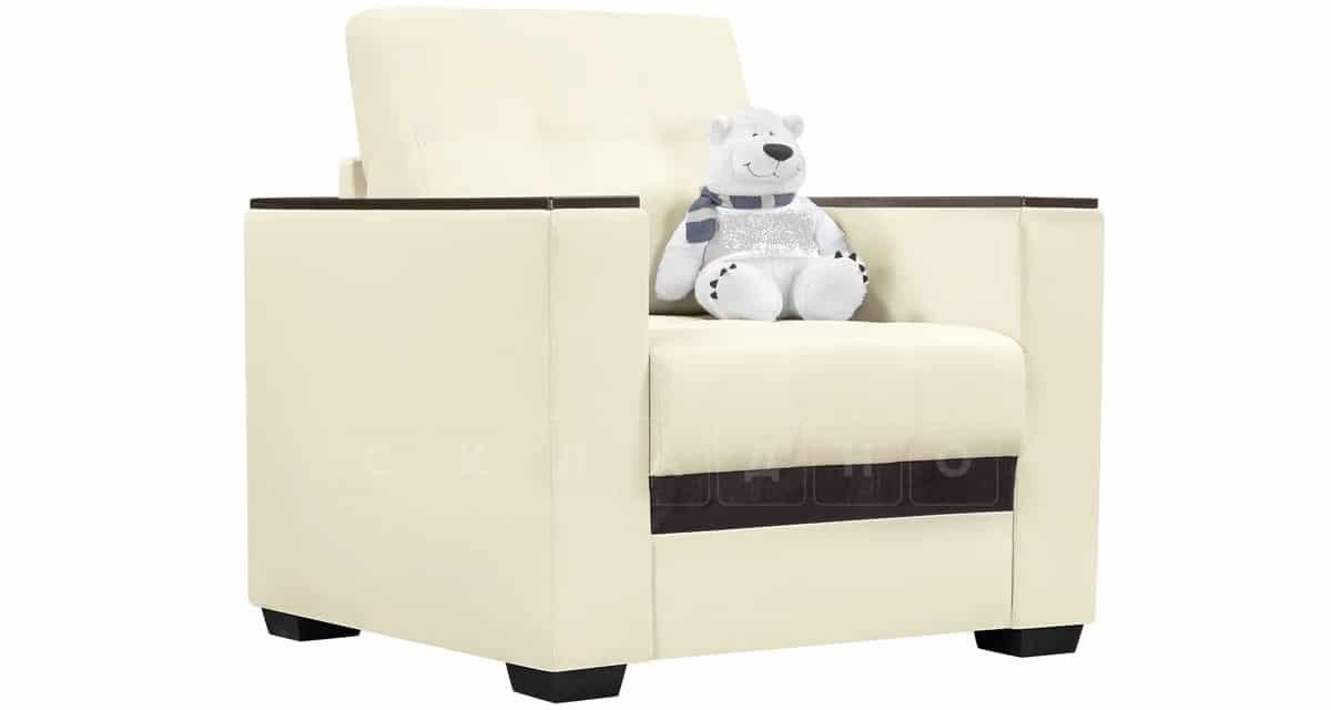 Кресло с подлокотниками Атланта экокожа молочный фото 1 | интернет-магазин Складно