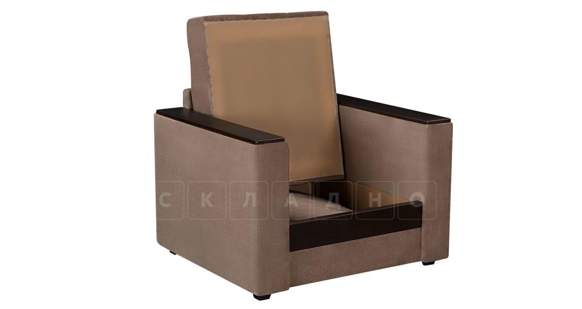 Кресло с подлокотниками Атланта вельвет коричневый фото 2   интернет-магазин Складно