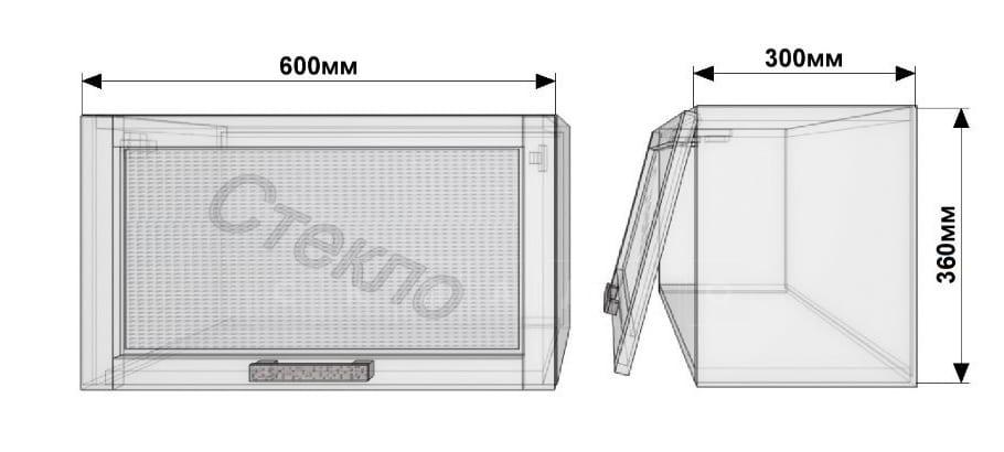 Кухонный навесной шкаф над плитой Лофт ШВГС60 со стеклом фото 1 | интернет-магазин Складно