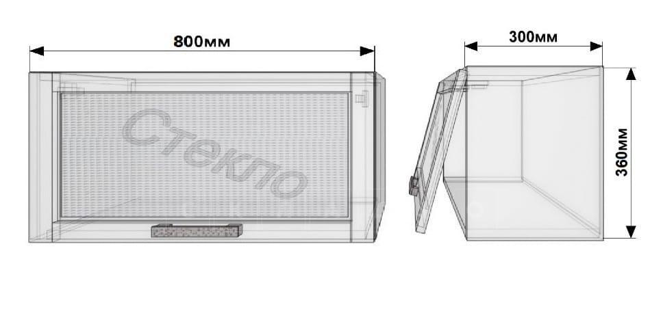Кухонный навесной шкаф над плитой Лофт ШВГС80 со стеклом фото 1 | интернет-магазин Складно