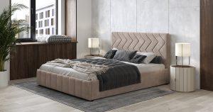 Мягкая кровать Милана 160 см карамельный тауп с подъемным механизмом 16970 рублей, фото 4 | интернет-магазин Складно
