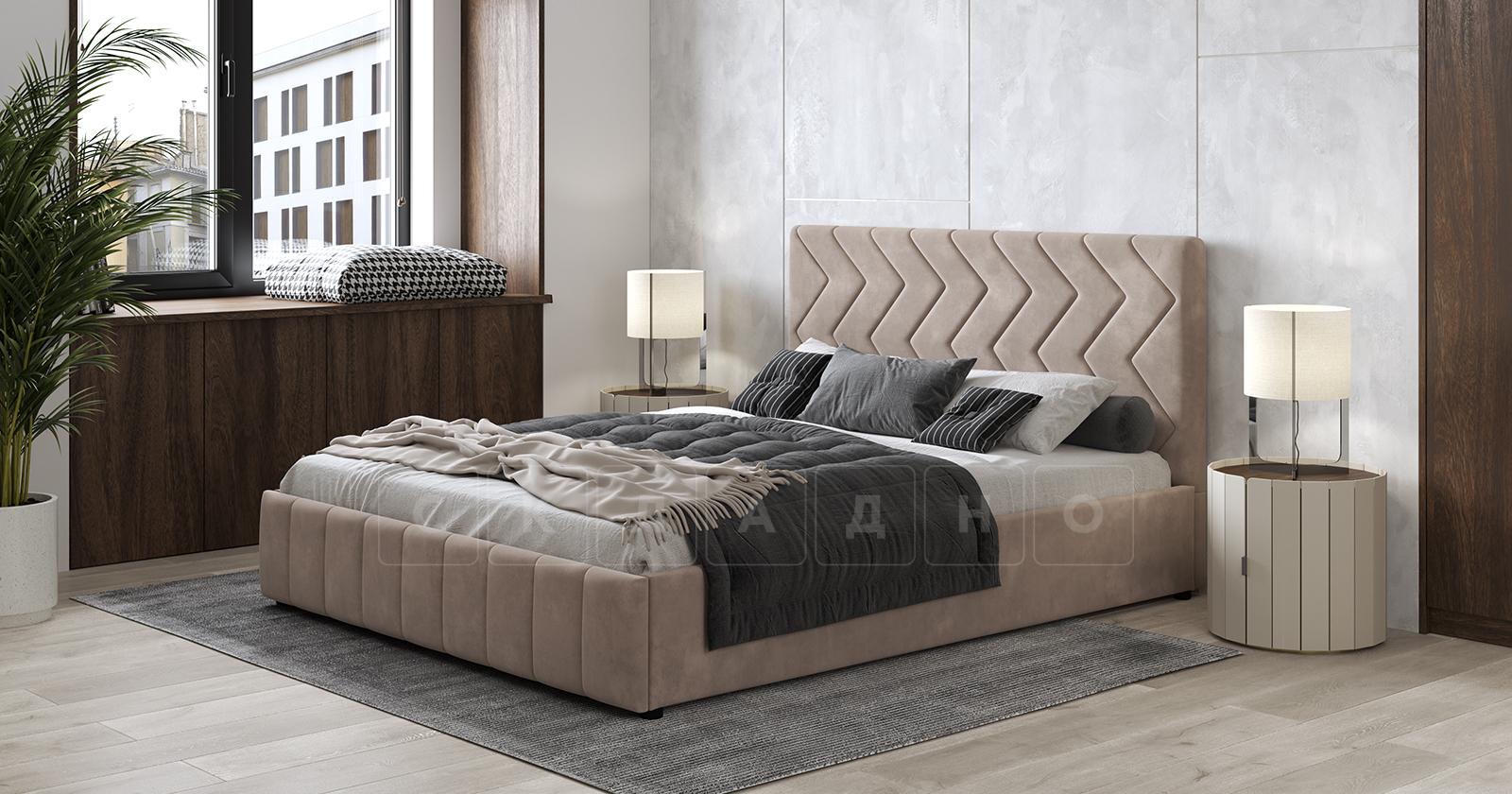 Мягкая кровать Милана 160 см карамельный тауп с подъемным механизмом фото 4 | интернет-магазин Складно