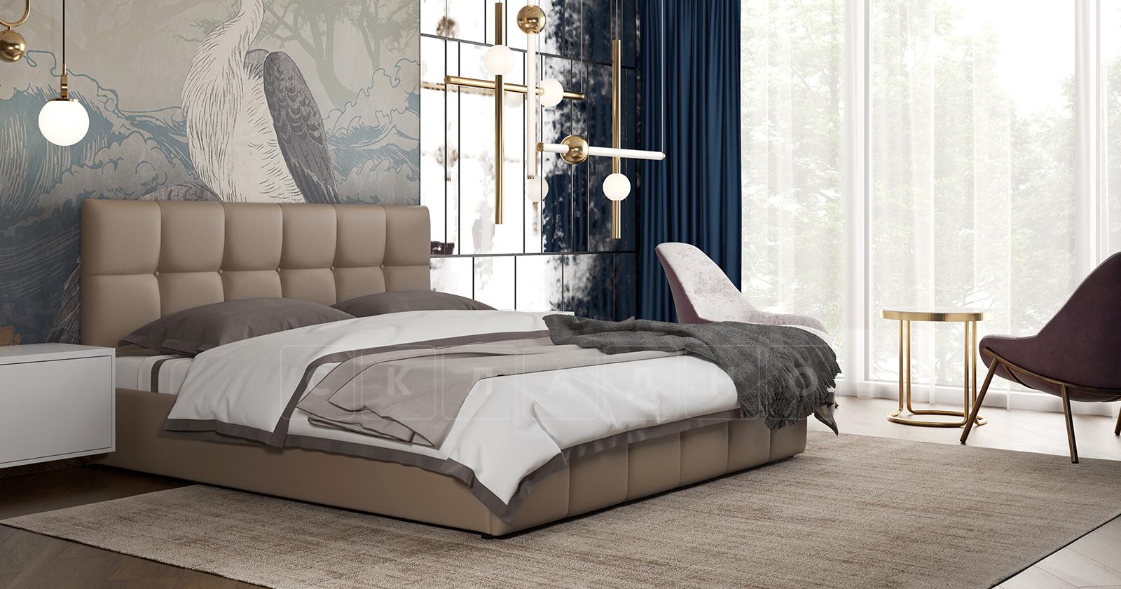 Мягкая кровать Хлоя 160 см капучино с подъемным механизмом фото 4 | интернет-магазин Складно