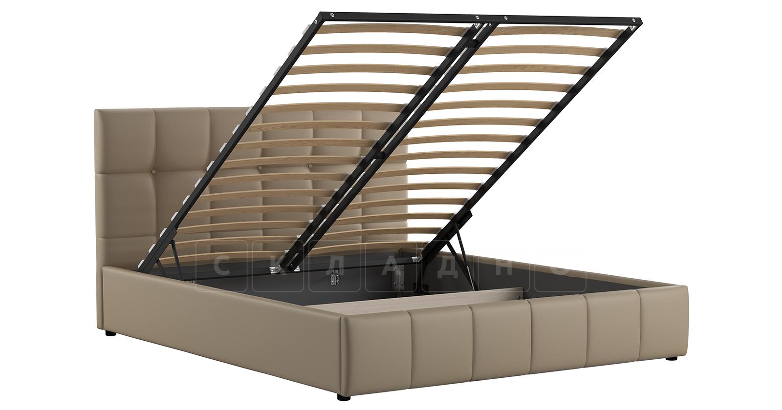 Мягкая кровать Хлоя 160 см капучино с подъемным механизмом фото 2 | интернет-магазин Складно