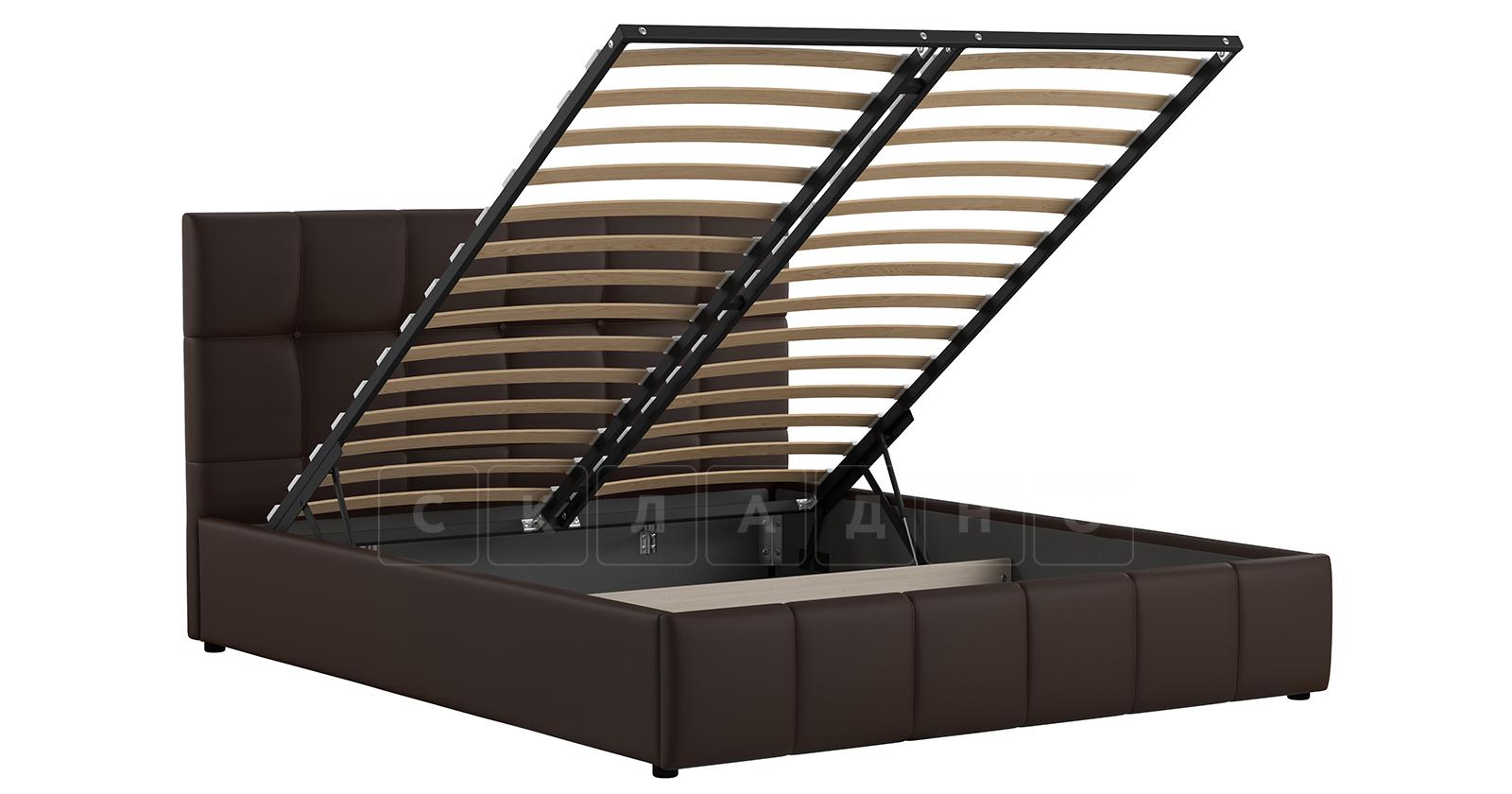 Мягкая кровать Хлоя 160 см шоколад с подъемным механизмом фото 3 | интернет-магазин Складно