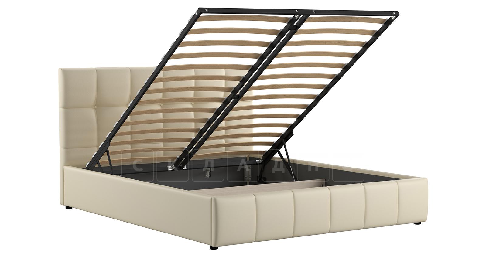 Мягкая кровать Хлоя 160 см сливочный с подъемным механизмом фото 2   интернет-магазин Складно