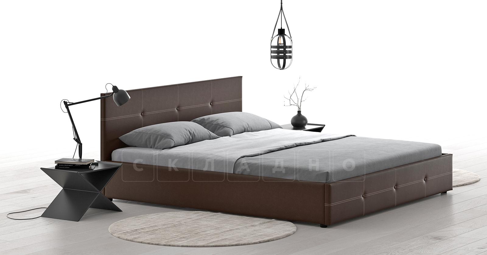 Мягкая кровать Синди 160 см шоколад без подъемного механизма фото 3 | интернет-магазин Складно