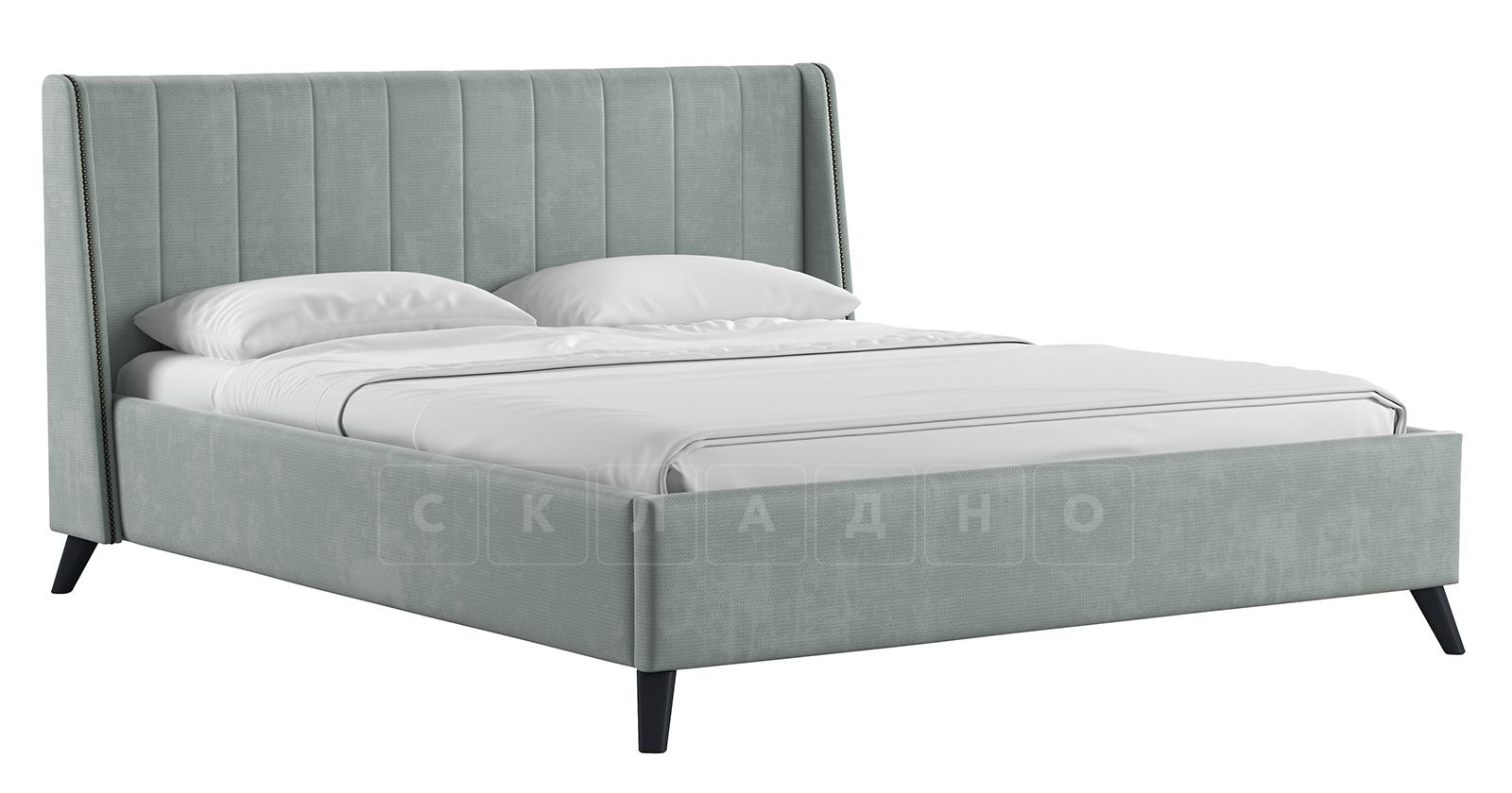 Мягкая кровать Мелисса 160 см велюр серебристый серый фото 1 | интернет-магазин Складно