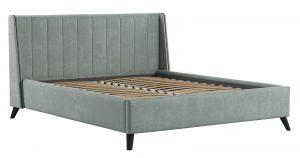 Мягкая кровать Мелисса 160 см велюр серебристый серый 26430 рублей, фото 2 | интернет-магазин Складно