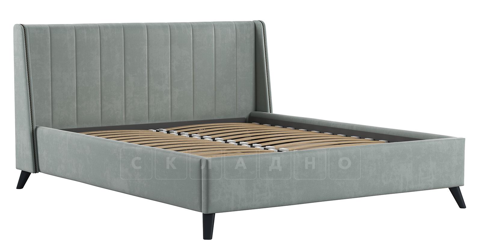 Мягкая кровать Мелисса 160 см велюр серебристый серый фото 2 | интернет-магазин Складно