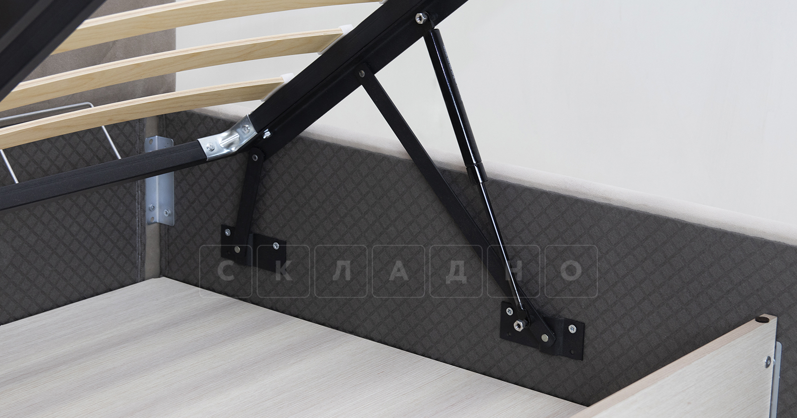 Мягкая кровать Милана 160 см светлый кварцевый серый с подъемным механизмом фото 10 | интернет-магазин Складно