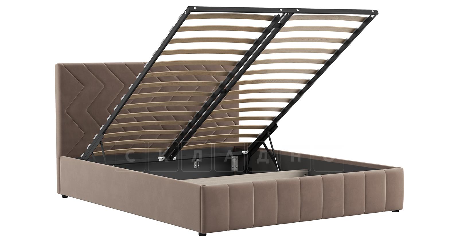 Мягкая кровать Милана 160 см карамельный тауп с подъемным механизмом фото 2 | интернет-магазин Складно