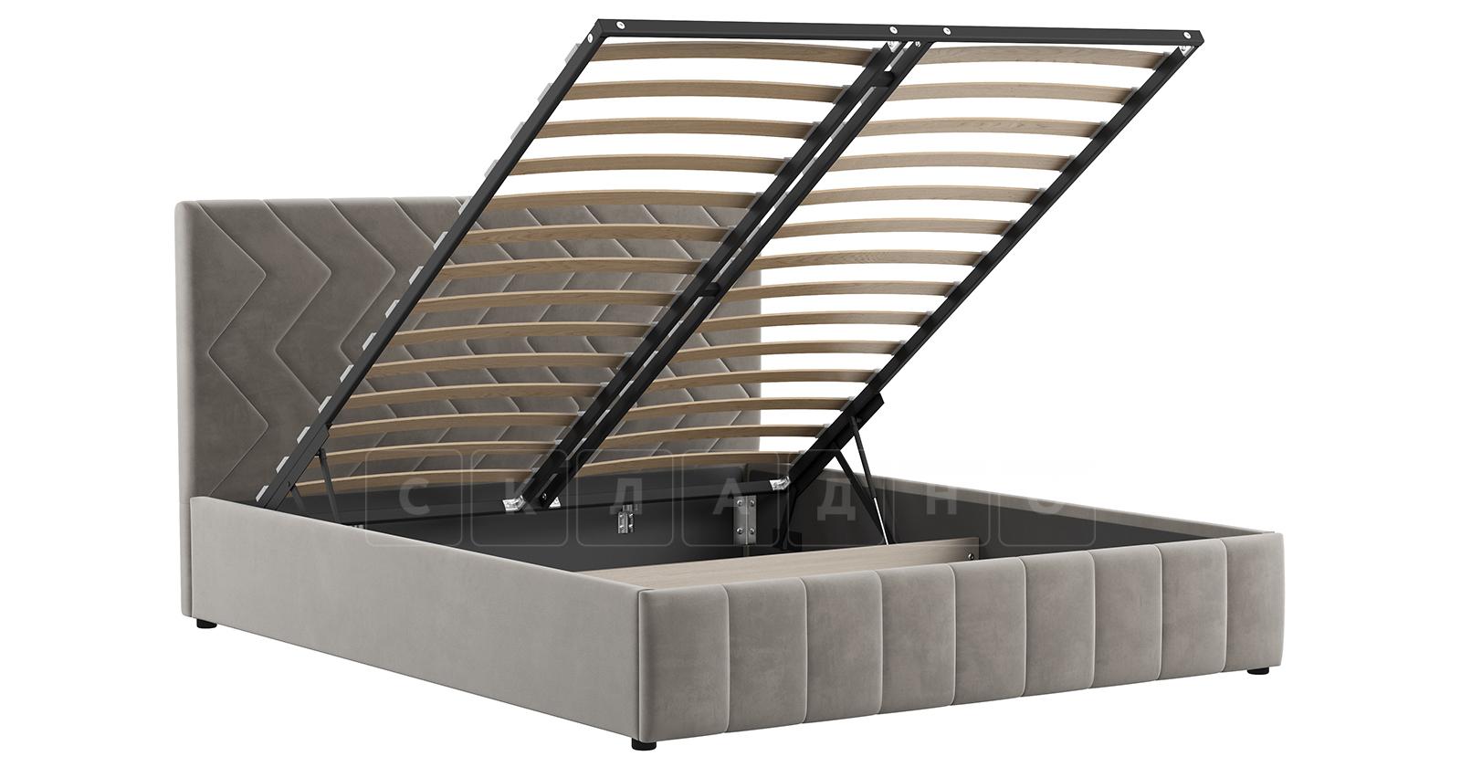 Мягкая кровать Милана 160 см светлый кварцевый серый с подъемным механизмом фото 3 | интернет-магазин Складно