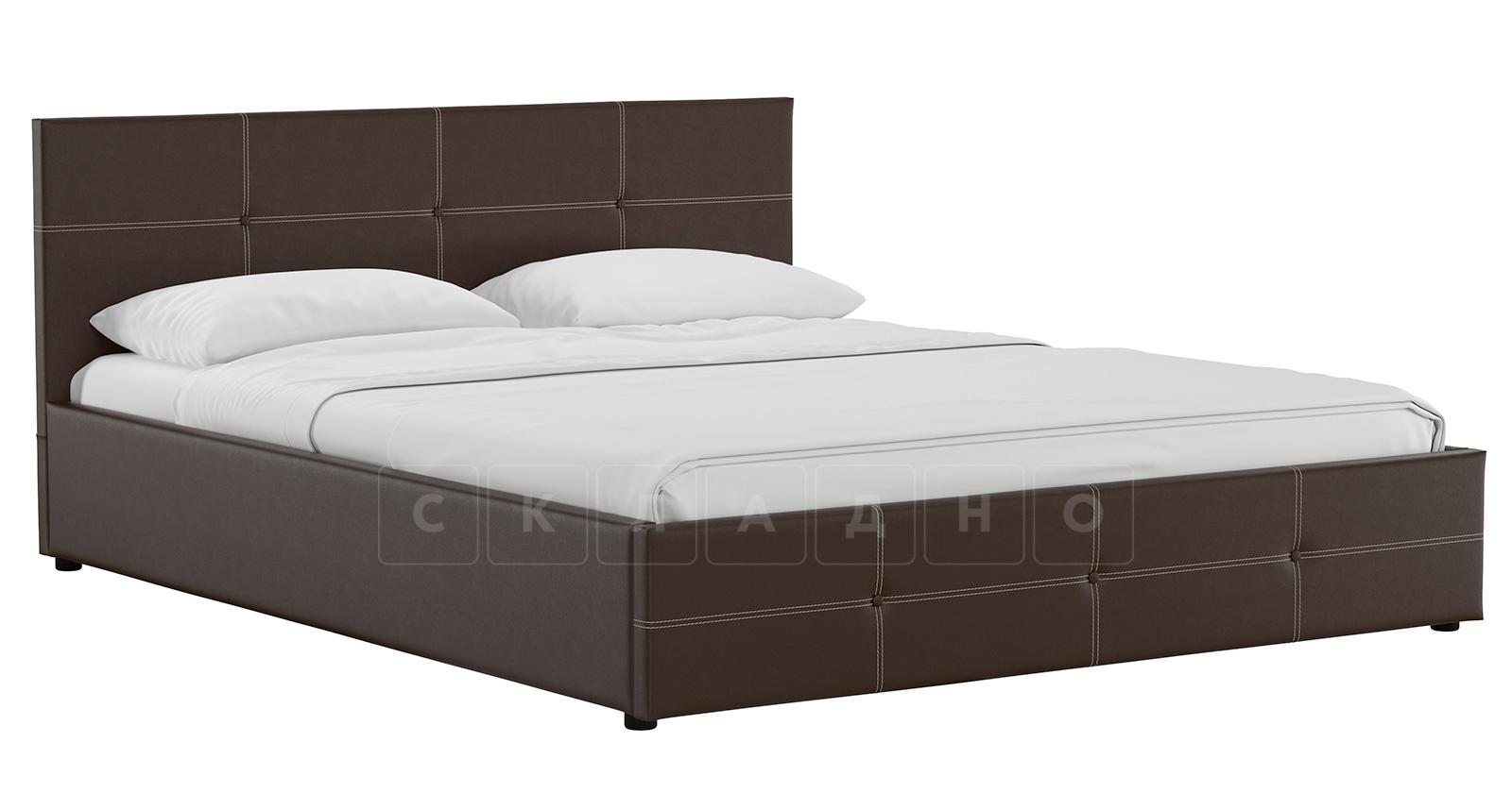 Мягкая кровать Синди 160 см шоколад без подъемного механизма фото 1 | интернет-магазин Складно