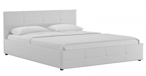 Мягкая кровать Синди 160 см белый с подъемным механизмом фото | интернет-магазин Складно