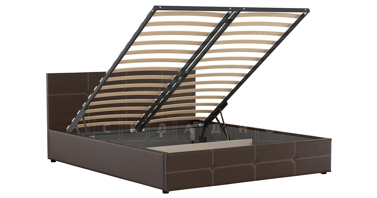 Мягкая кровать Синди 160 см шоколад с подъемным механизмом фото 2   интернет-магазин Складно