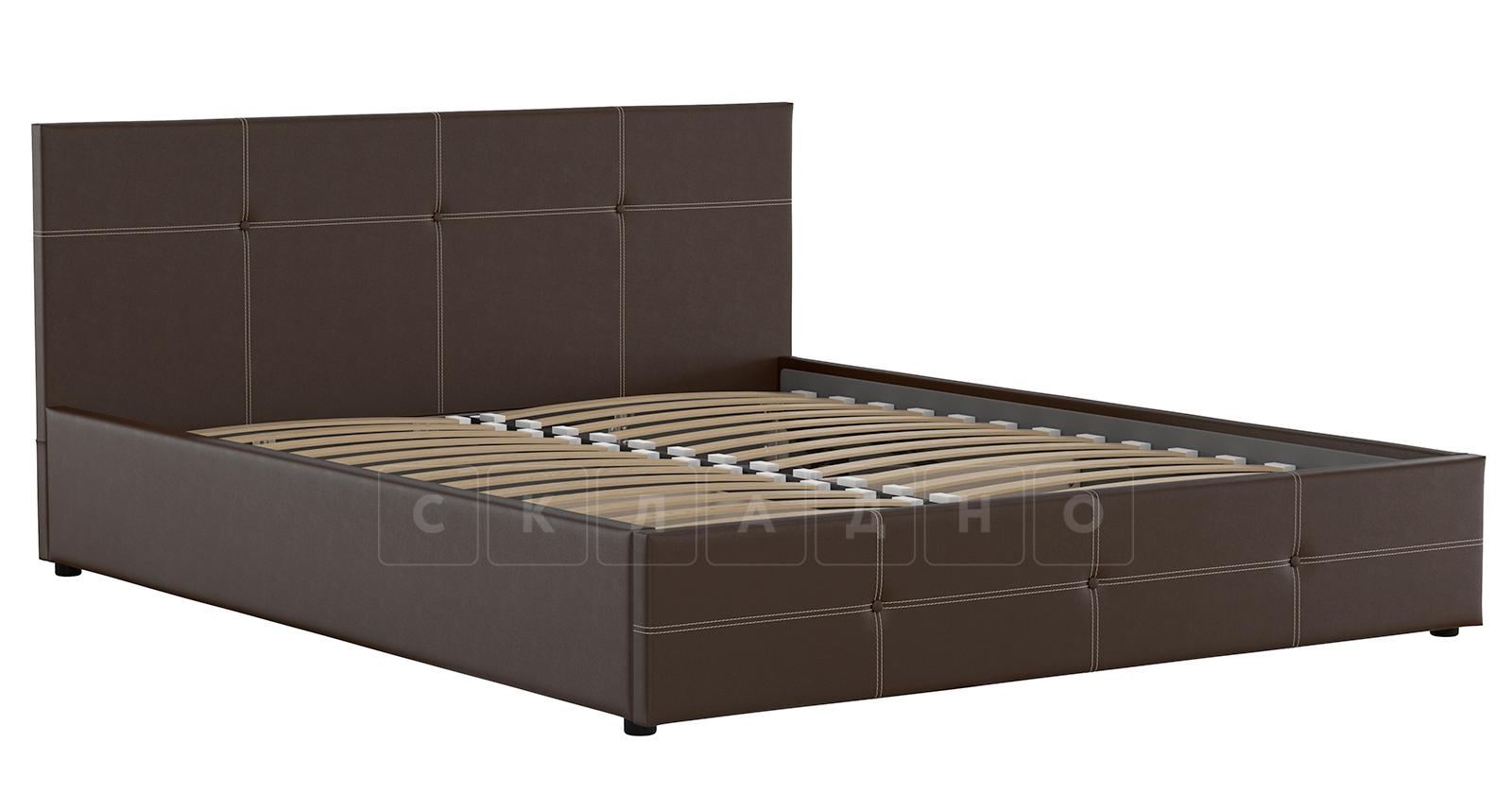 Мягкая кровать Синди 160 см шоколад без подъемного механизма фото 2 | интернет-магазин Складно