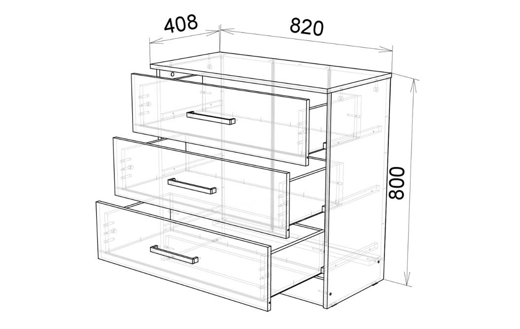 Комод Адель с 3 ящиками фото 4 | интернет-магазин Складно