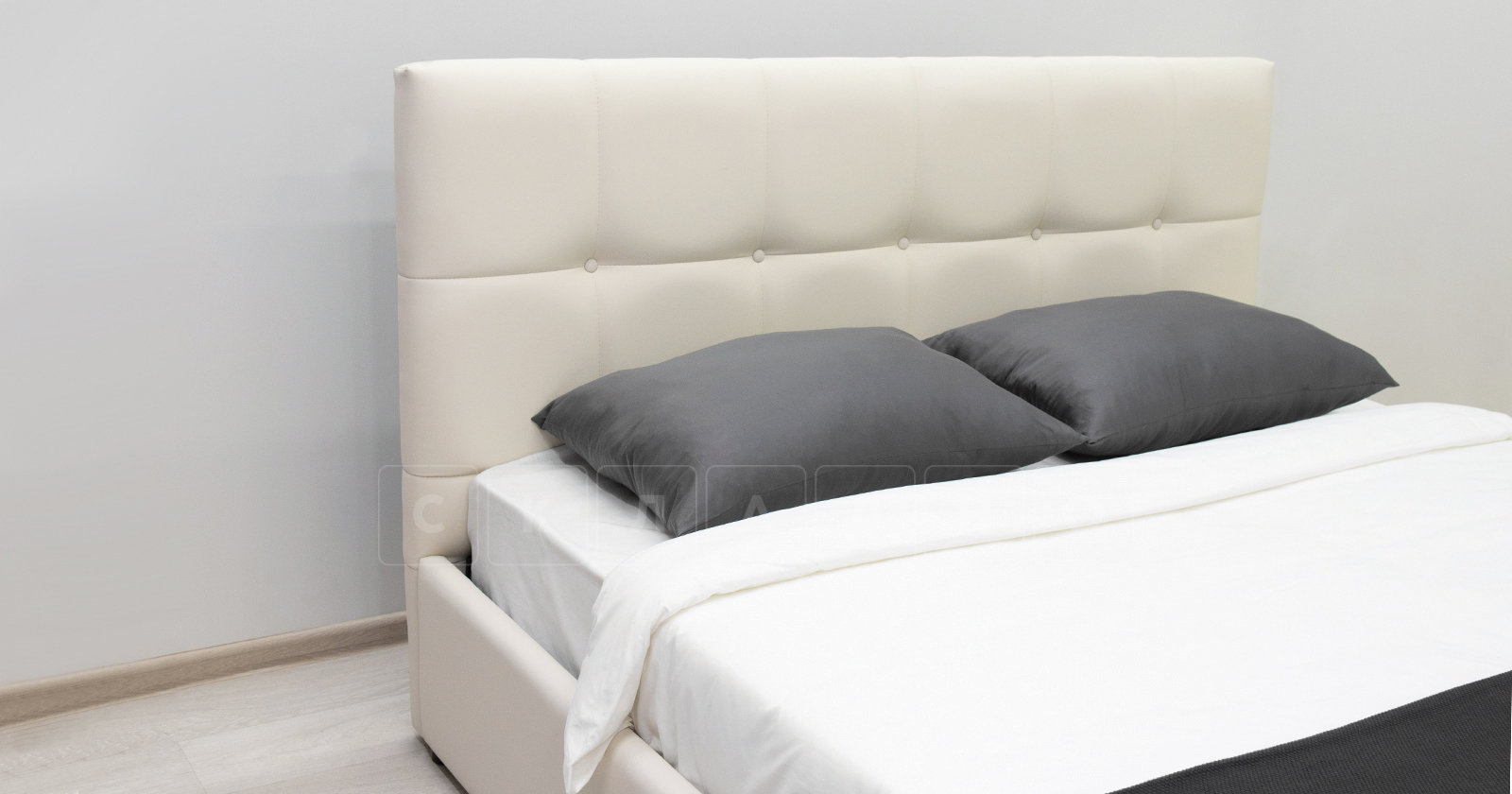 Мягкая кровать Хлоя 160 см сливочный с подъемным механизмом фото 7   интернет-магазин Складно