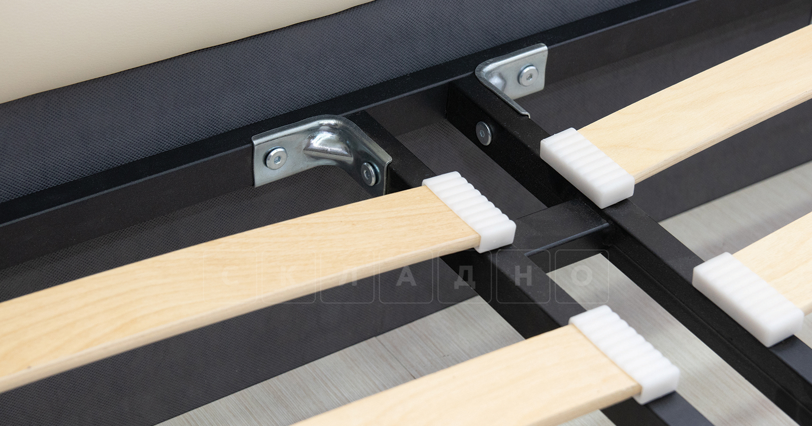Мягкая кровать Хлоя 160 см сливочный с подъемным механизмом фото 9   интернет-магазин Складно