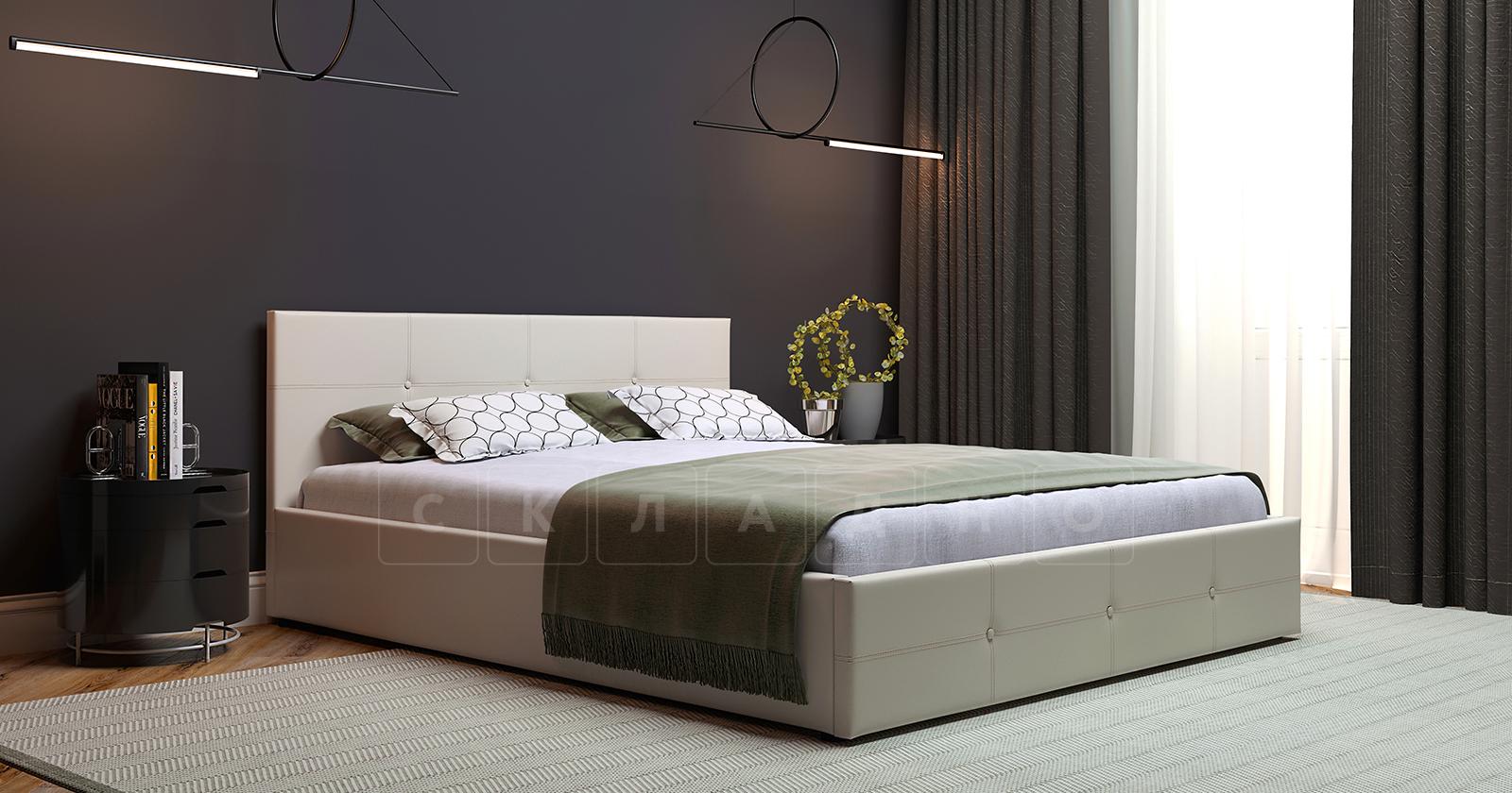 Мягкая кровать Синди 160 см бежевый с подъемным механизмом фото 5 | интернет-магазин Складно