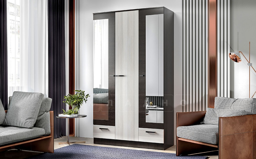 Шкаф трехстворчатый Адель 1,2 с 2 ящиками фото 1 | интернет-магазин Складно