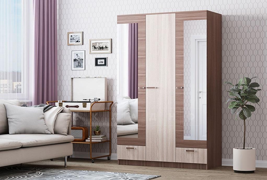 Шкаф трехстворчатый Адель 1,2 с 2 ящиками фото 2 | интернет-магазин Складно