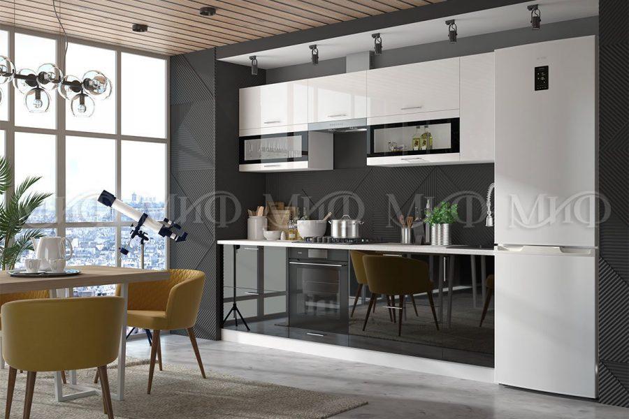 Кухонный гарнитур Техно бело-черный фото   интернет-магазин Складно