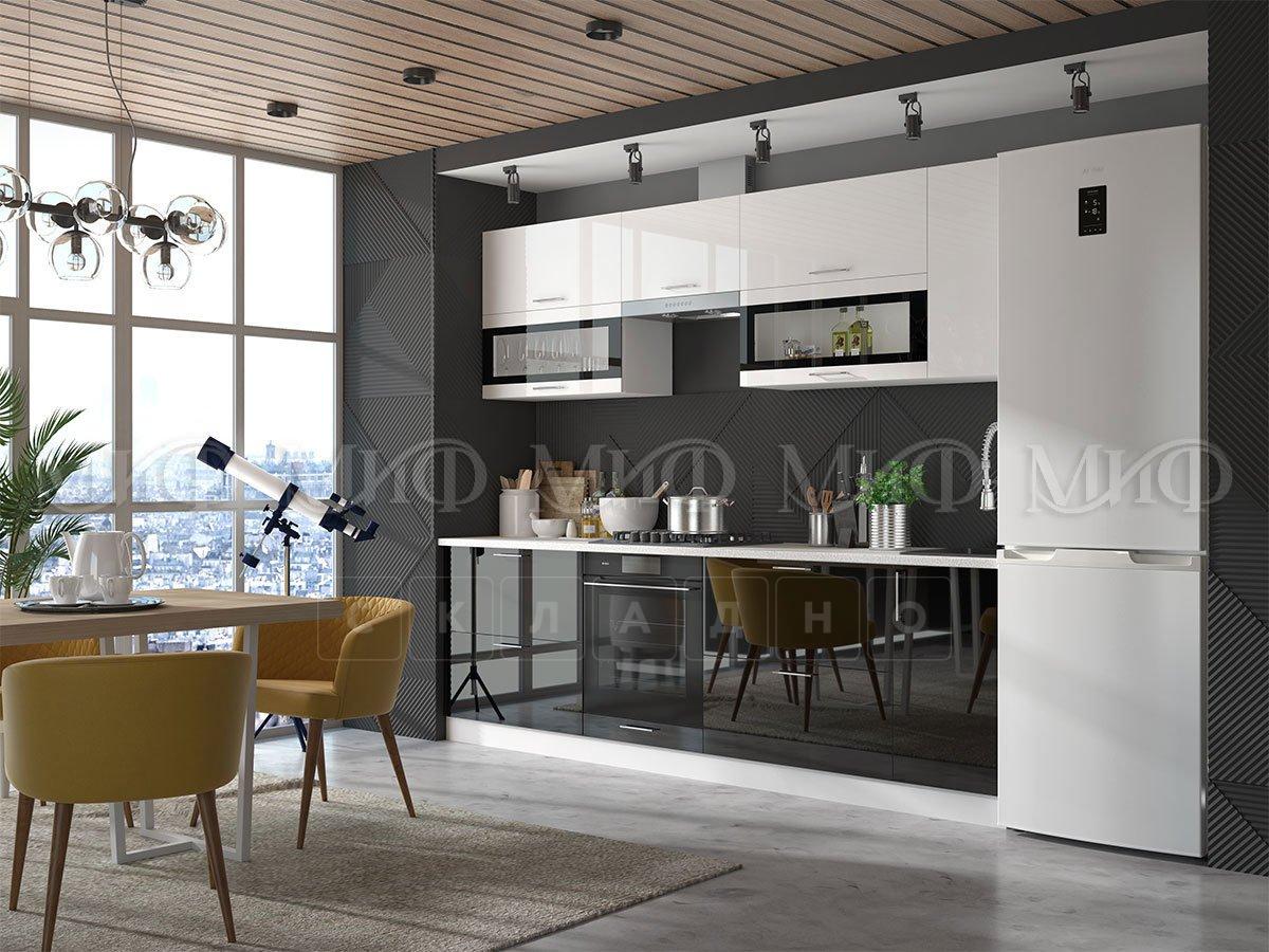 Кухонный гарнитур Техно бело-черный фото 1 | интернет-магазин Складно