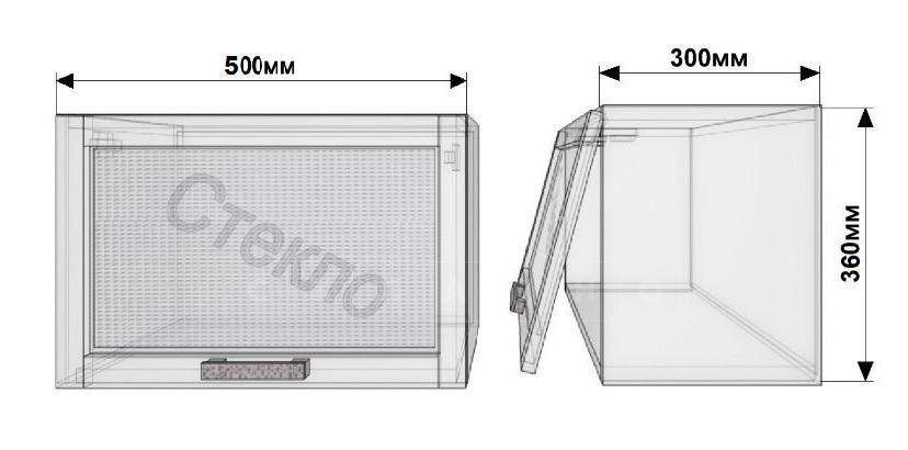 Кухонный навесной шкаф над плитой Лофт ШВГС50 со стеклом фото 1   интернет-магазин Складно