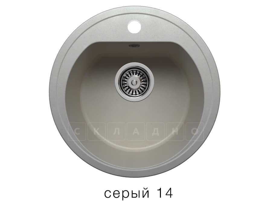 Кухонная мойка POLYGRAN F-05 из искусственного камня D45 см фото 7   интернет-магазин Складно