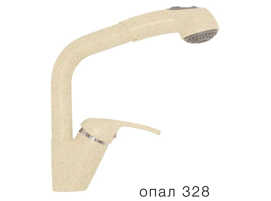 Смеситель кухонный Высокая лейка в цвет мойки Polygran фото 3 | интернет-магазин Складно