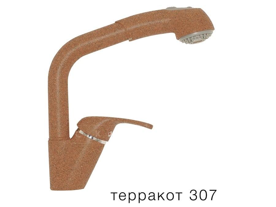 Смеситель кухонный Высокая лейка в цвет мойки Polygran фото 8 | интернет-магазин Складно