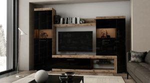 Стенка Бастон черная 2,8 метра  15490  рублей, фото 1 | интернет-магазин Складно