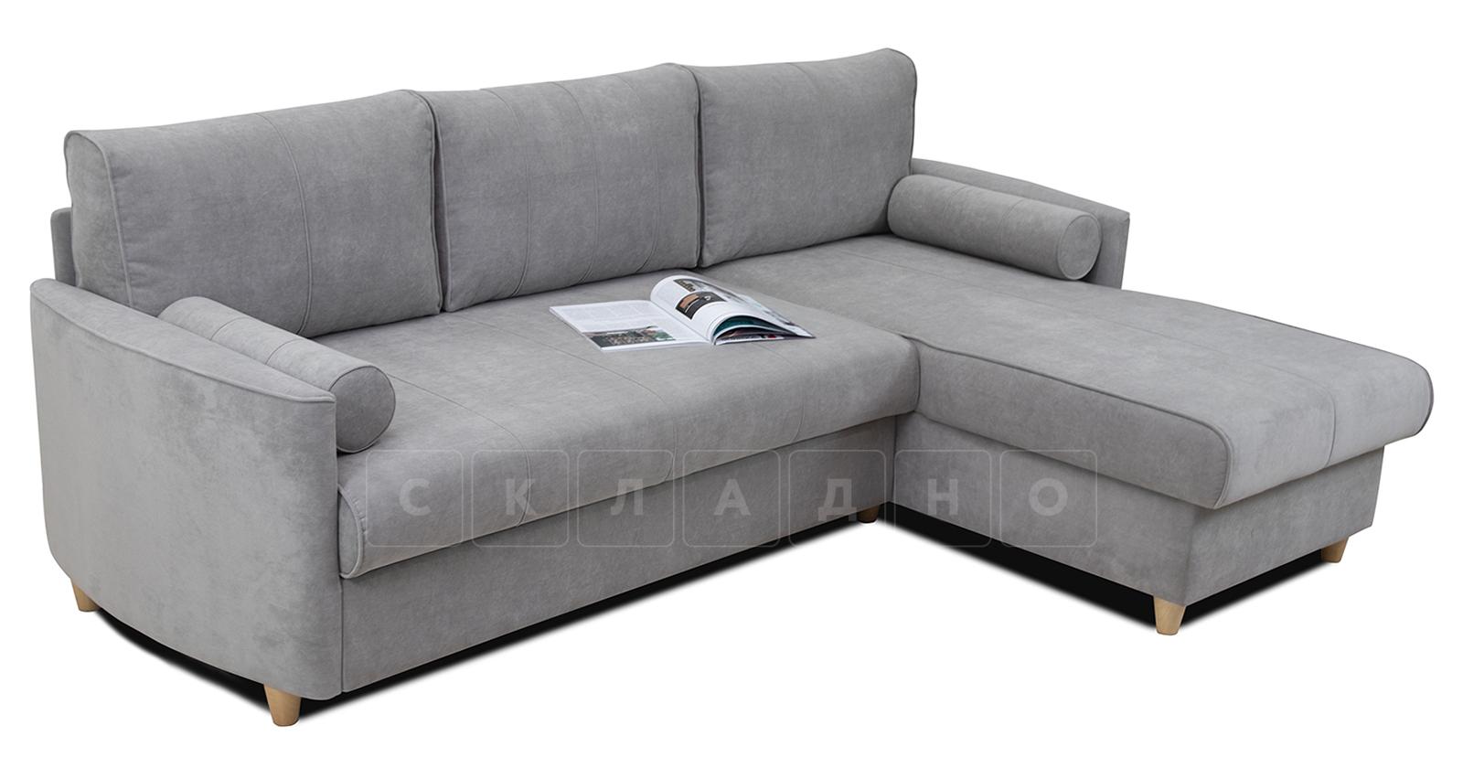Угловой диван Лорен серебристый серый фото 3 | интернет-магазин Складно