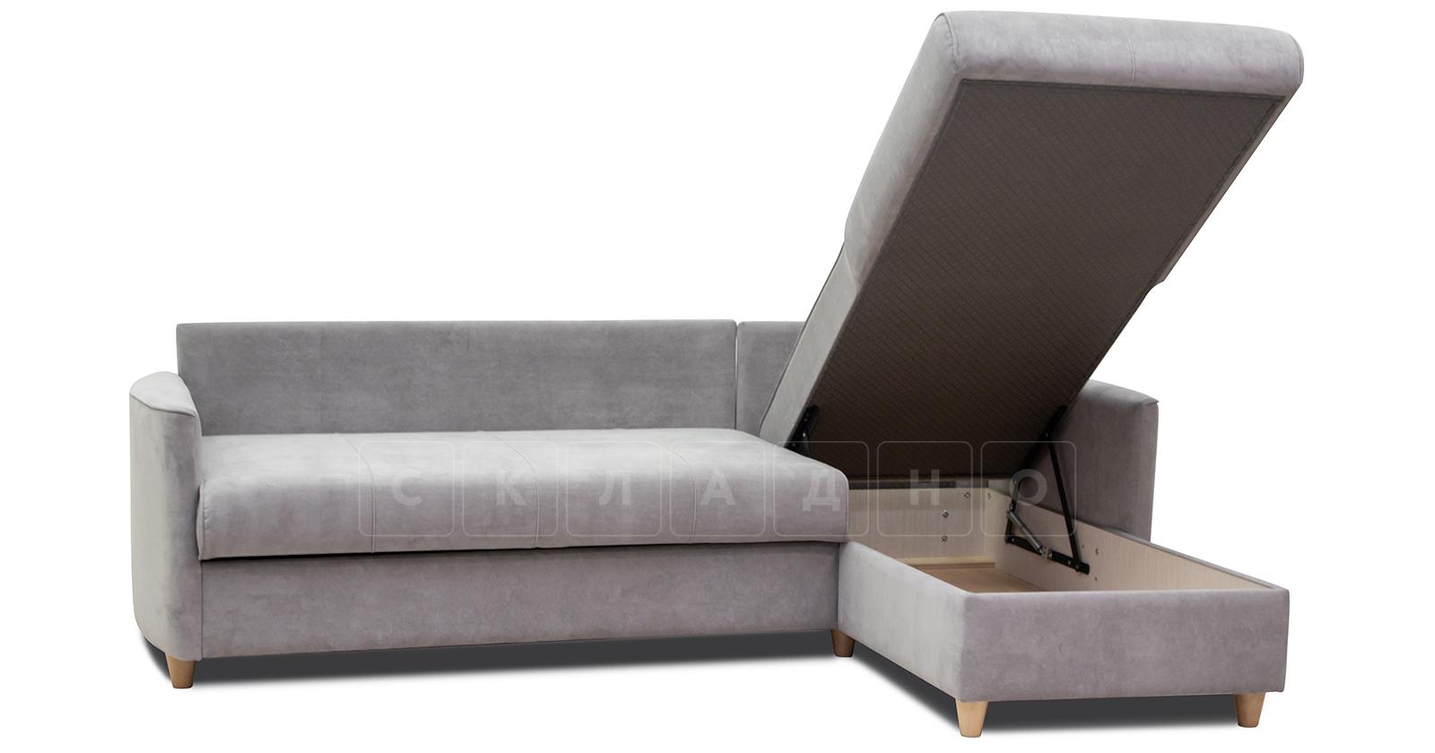 Угловой диван Лорен серебристый серый фото 7 | интернет-магазин Складно